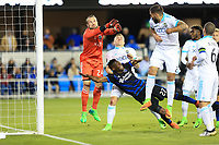 San Jose, CA - Saturday April 08, 2017: Stefan Frei, Fatai Alashe  during a Major League Soccer (MLS) match between the San Jose Earthquakes and the Seattle Sounders FC at Avaya Stadium.