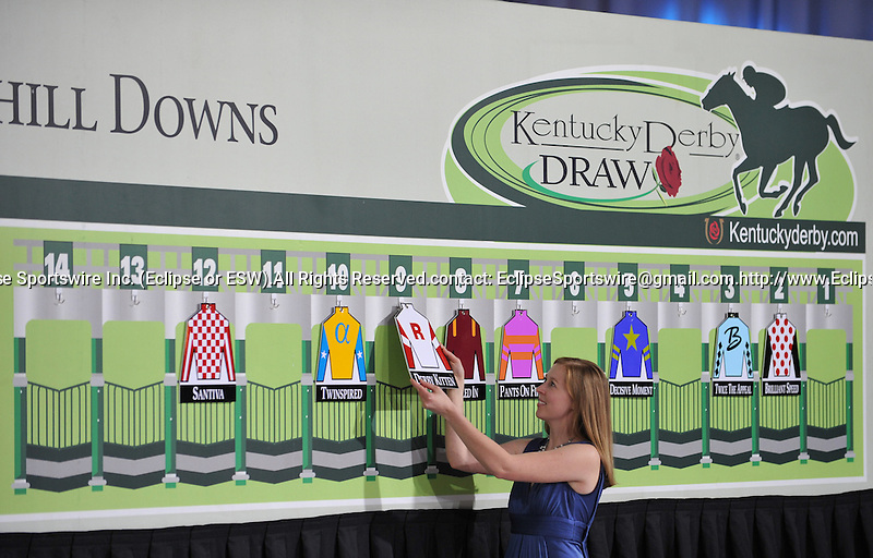 Derby Kitten draws the #9 post at the post position draw for the 137th Kentucky Derby in the Secretariat Room at Churchill Downs in Louisville, Kentucky on May 4, 2011.