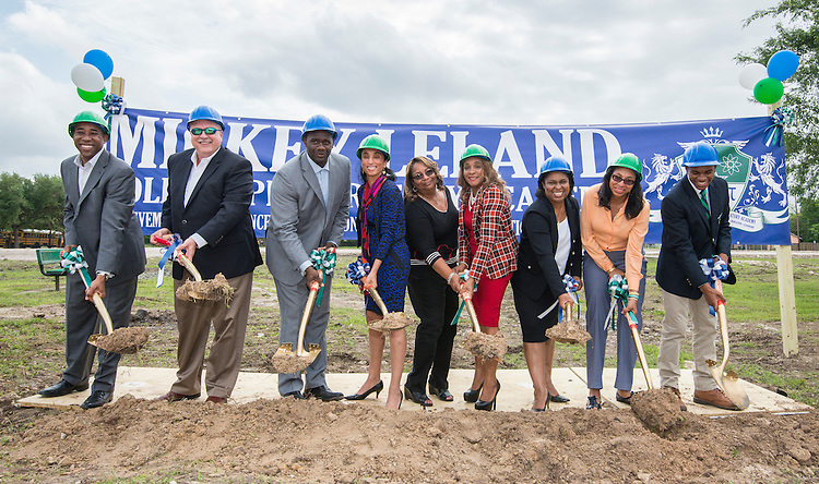 Groundbreaking ceremonies for the Mickey Leland College Preparatory Academy, April 16, 2015.