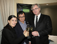 October 11, 2012 - Montreal. Quebec , Canada - Launch of TOP QUEBEC fashion magazine first issue at Saint-Sulpice Hotel -  Danielle MARTIN & Pao LIM (MARTIN LIM) with publisher Jean-Marc Papineau (R)