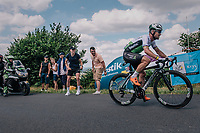Mark Cavendish  (GBR/Dimension Data) dropped up the 3rd climb of the day<br /> <br /> Stage 5: Lorient &gt; Quimper (203km)<br /> <br /> 105th Tour de France 2018<br /> &copy;kramon