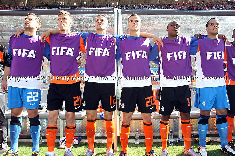 14 JUN 2010:  Members of the Netherlands bench: (l-r) Sander Boschker (NED)(22), Klaas Jan Huntelaar (NED)(21), Khalid Boulahrouz (NED)(12), Ibrahim Afellay (NED)(20), Edson Braafheid (NED)(15), Michel Vorm (NED)(16).  The Netherlands National Team led the Denmark National Team 1-0 at the end of the 2st half at Soccer City Stadium in Johannesburg, South Africa in a 2010 FIFA World Cup Group E match.