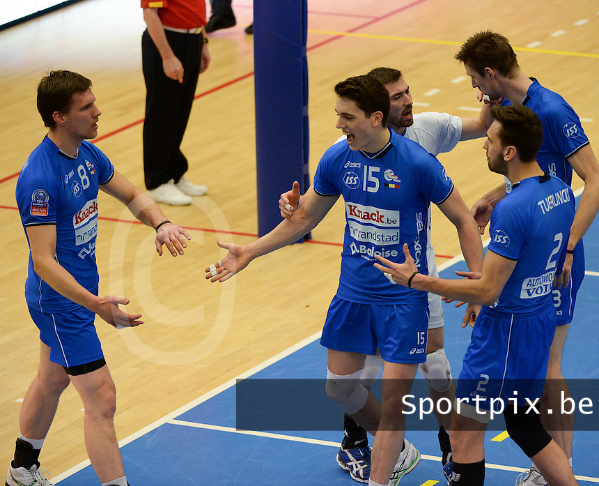 Knack Roeselare - Precura Antwerpen : vreugde bij Roeselare en Tomas Rousseaux (15) <br /> foto VDB / BART VANDENBROUCKE