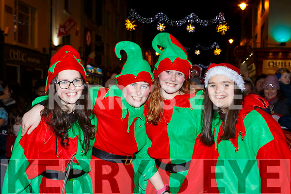 Saoirse Casey, Brendan Casey, Shenice Good and Roisin Chambers at the Kiilarney Christmas parade on Saturday night