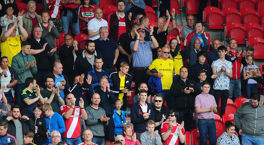 Middlesbrough fans before kick off<br /> <br /> Photographer Chris Vaughan/CameraSport<br /> <br /> Football - Pre-Season Friendly - Doncaster Rovers v Middlesbrough - Saturday 25th July 2015 - Keepmoat Stadium, Doncaster<br /> <br /> &copy; CameraSport - 43 Linden Ave. Countesthorpe. Leicester. England. LE8 5PG - Tel: +44 (0) 116 277 4147 - admin@camerasport.com - www.camerasport.com