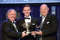 Robert Kelly, Belfast School of Performing Arts Musical Society, who won Best Male Singer / Sullivan Section for his performance as 'Marius in Les Miserables'' receiving the trophy from on  left, Colm Moules, President, AIMS and Seamus Power, Vice-President at the Association of Irish Musical Societies annual awards in the INEC, KIllarney at the weekend.<br /> Photo: Don MacMonagle -macmonagle.com<br /> <br /> <br /> <br /> repro free photo from AIMS<br /> Further Information:<br /> Kate Furlong AIMS PRO kate.furlong84@gmail.com