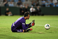 28th February 2020; Netstrata Jubilee Stadium, Sydney, New South Wales, Australia; A League Football, Sydney FC versus Western Sydney Wanderers; Goalkeeper Daniel Lopar of Western Sydney Wanderers dives to the right to make the save