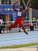 BARRANQUILLA - COLOMBIA, 29-07-2018:  José Miguel Paulino Asencio, de República Dominicana, durante su participación en la prueba de Salto Largo, Masculino de la prueba del Decatlón, en el Estadio de Atletismo, como parte de los Juegos Centroamericanos y del Caribe Barranquilla 2018. / José Miguel Paulino Asencio, from the Dominican Republic, during his participation in the Long Jump, Male, test, at the Athletics Stadium, as a part of the Central American and Caribbean Sports Games Barranquilla 2018. Photo: VizzorImage / Cont.