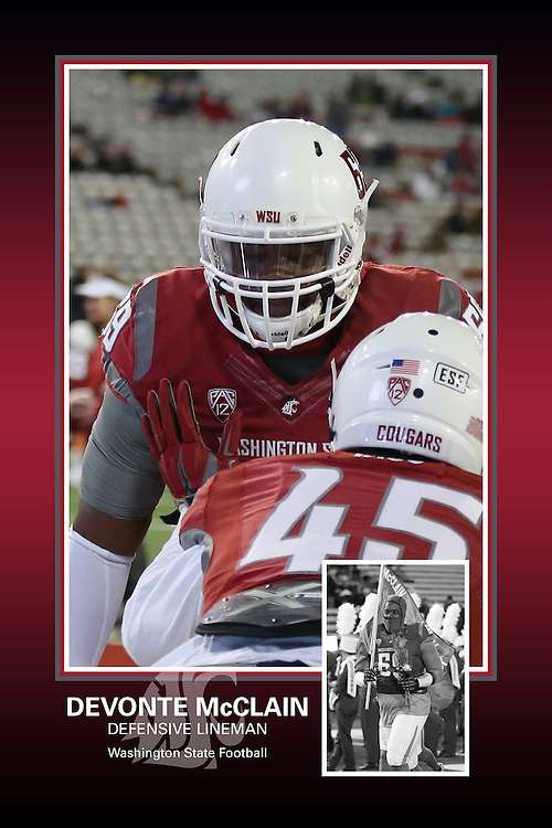 Memorabilia print for Devonte McClain from the 2015 Washington State football season in which the Cougs went 9-4, including a Sun Bowl victory over the Miami Hurricanes.