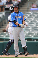 Akron RubberDucks infielder Justin Toole (9) during game against the Trenton Thunder at ARM & HAMMER Park on July 14, 2014 in Trenton, NJ.  Akron defeated Trenton 5-2.  (Tomasso DeRosa/Four Seam Images)