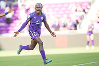 Orlando, FL - Sunday May 14, 2017: Chioma Ubogagu celebrates her first goal. during a regular season National Women's Soccer League (NWSL) match between the Orlando Pride and the North Carolina Courage at Orlando City Stadium.