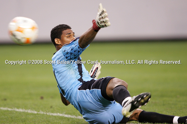 11 March 2008: Jose Calderon (PAN) (1) is unable to save this late shot by Hendry Thomas (HON) (not pictured), the game-winning goal. The Honduras U-23 Men's National Team defeated the Panama U-23 Men's National Team 1-0 at Raymond James Stadium in Tampa, FL in a Group A game during the 2008 CONCACAF's Men's Olympic Qualifying Tournament.