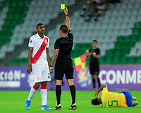 ARMENIA, COLOMBIA - JANUARY 19: Peru's Aldair Fuentes receives yellow card  during their CONMEBOL Pre-Olympic soccer game against Brazil at Centenario Stadium on January 19, 2020 in Armenia, Colombia. (Photo by Daniel Munoz/VIEW press/Getty Images)