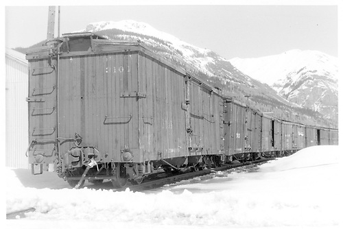 Box car #3101 on end of long string of box cars.<br /> D&amp;RGW  Silverton, CO