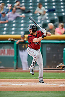 Steven Duggar (14) of the Sacramento River Cats bats against the Salt Lake Bees at Smith's Ballpark on May 17, 2018 in Salt Lake City, Utah. Salt Lake defeated Sacramento 12-11. (Stephen Smith/Four Seam Images)