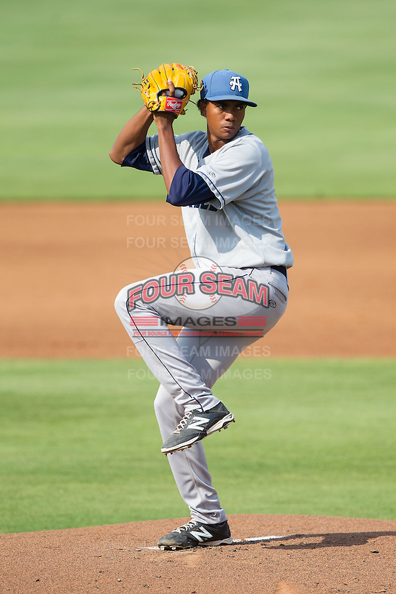 Asheville Tourists starting pitcher Johendi Jiminian (31) in action against the Kannapolis Intimidators at CMC-NorthEast Stadium on July 13, 2014 in Kannapolis, North Carolina.  The Tourists defeated the Intimidators 8-2.  (Brian Westerholt/Four Seam Images)