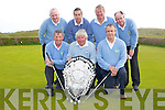 TEAM: The winning Castlegregory Golfing team with the Kerry Sheild in which they wion pictured with the Kerry Sheild at Castlegregory Golf and Fishing Club on Sunday morning. Front l-r: Mike Burrows ((president), Sean O'Connor (capt) and Kieran Shannon (Vice Capt).Back l-r: Joe Mulcahy, Pat Doody, Noel Earlie and Eddie Hannafin.......