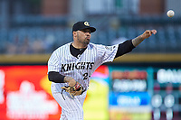Charlotte Knights starting pitcher Hector Santiago (24) delivers a pitch to the plate against the Durham Bulls at BB&T BallPark on July 31, 2019 in Charlotte, North Carolina. The Knights defeated the Bulls 9-6. (Brian Westerholt/Four Seam Images)