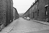 Stansfield Street, terraced housing and cobbled streets, Todmorden, Lancashire.  1970.