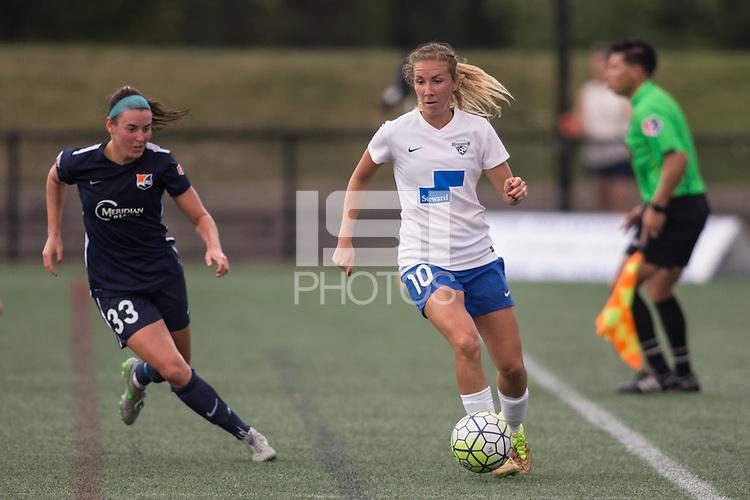 Alston, Massachusetts - July 17, 2016:  Sky Blue FC (blue) beat the Boston Breakers (white and blue) 3-2 in a National Women's Soccer League (MWSL) match at Jordan Field.