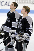 Kyle MacKinnon (Providence - 15), Alex Velischek (Providence - 10) - The Northeastern University Huskies defeated the Providence College Friars 3-1 (EN) on Tuesday, January 19, 2010, at Matthews Arena in Boston, Massachusetts.