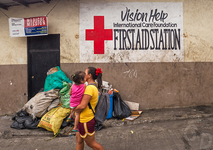 Health Center in the slum area.Street photography, life in the City of Manila, Philippines