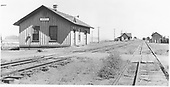 General scene of D&amp;RGW Mosca station grounds and buildings taken along siding.<br /> D&amp;RGW  Mosca, CO  Taken by Best, Gerald M. - 7/8/1941