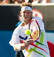 DAVID NALBANDIAN (ARG) against JOHN ISNER (USA)  in the second round of the Men's Singles. John Isner beat David Nalbandian 4-6 6-3 2-6 7-6 10-8..18/01/2012, 18th January 2012, 18.01.2012..The Australian Open, Melbourne Park, Melbourne,Victoria, Australia.@AMN IMAGES, Frey, Advantage Media Network, 30, Cleveland Street, London, W1T 4JD .Tel - +44 208 947 0100..email - mfrey@advantagemedianet.com..www.amnimages.photoshelter.com.