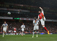 Arsenal's Olivier Giroud with an effort on goal which resulted in an assist for Alexis Sanchez to score his sides second goal<br /> <br /> Photographer Rob Newell/CameraSport<br /> <br /> The Premier League - Arsenal v Sunderland - Tuesday May 16th 2017 - Emirates Stadium - London<br /> <br /> World Copyright &copy; 2017 CameraSport. All rights reserved. 43 Linden Ave. Countesthorpe. Leicester. England. LE8 5PG - Tel: +44 (0) 116 277 4147 - admin@camerasport.com - www.camerasport.com