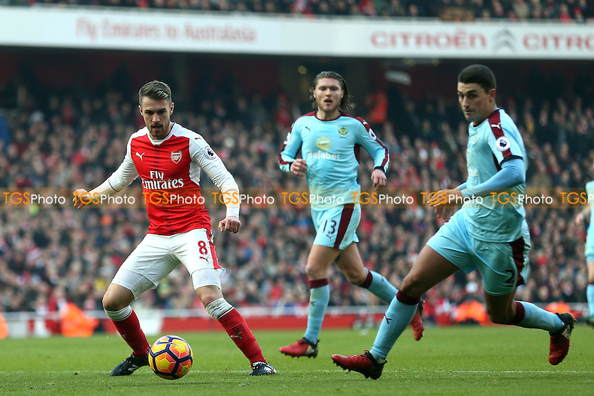 Aaron Ramsey of Arsenal and Matthew Lowton of Burnley during Arsenal vs Burnley, Premier League Football at the Emirates Stadium on 22nd January 2017