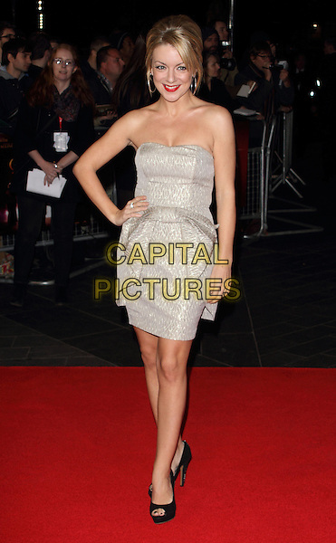 Sheridan Smith.The 56th BFI London Film Festival Gala Screening of 'Quartet', Odeon Leicester Square, London, England..15th October 2012.full length grey gray strapless dress peplum hand on hip black open toe shoes.CAP/ROS.©Steve Ross/Capital Pictures.