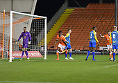 18/12/18 The Emirates FA Cup, 2nd Round Replay Blackpool v Solihull Moor<br /> <br /> Armand Gnanduillet celebrates after scoring Blackpool's first goal