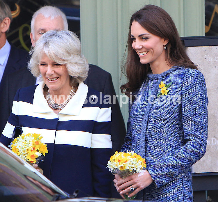 **ALL ROUND PICTURES FROM SOLARPIX.COM**                                             **WORLDWIDE SYNDICATION RIGHTS**                                                                                  Caption: Three of the Royal Family's leading ladies paid a visit to one of London's most luxurious department stores today.The Queen, who fittingly wore the shop's colours, the Catherine Duchess of Cambridge and Camilla Duchess of Cornwall went to Fortnum & Mason, where they will be given a tour of its famous food hall..Sporting two daffodils on her lapel in honour of St Davids day, Kate wore a blue coat by Italian label Missoni and shoes by Rupert Sanderson.The royal guests will meet military personnel involved in the Gifts For Troops scheme, which sends packages to soldiers serving in Afghanistan, and will see a display of tea and biscuits similar to those which will be sent to troops deployed overseas on operations during the Diamond Jubilee weekend.. This pic: queen Catherine Duchess of Cambridge and Camilla Duchess of Cornwall                                                                                              JOB REF:14520        MSR       DATE: 01.03.2012                                                           **MUST CREDIT SOLARPIX.COM OR DOUBLE FEE WILL BE CHARGED**                                                                      **MUST AGREE FEE BEFORE ONLINE USAGE**                               **CALL US ON: +34 952 811 768 or LOW RATE FROM UK 0844 617 7637**
