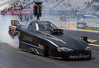 Aug. 31, 2013; Clermont, IN, USA: NHRA top alcohol funny car driver Dan Pompano Jr during qualifying for the US Nationals at Lucas Oil Raceway. Mandatory Credit: Mark J. Rebilas-