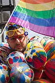 "29 June 2013, London, United Kingdom. Picture: Performance artist Antonio Gigliotta attends Pride London. Pride London 2013 parade starts with the motto ""love (and marriage)""."