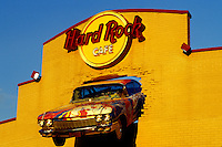 Hard Rock Café, Niagara Falls, NY, New York, Front of and old Cadillac mounted on the façade of the Hard Rock Café building in Niagara Falls.
