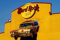 Hard Rock Café, Niagara Falls, NY, New York, Front of and old Cadillac mounted on the façade of the Hard Rock Café building in Niagara Falls.