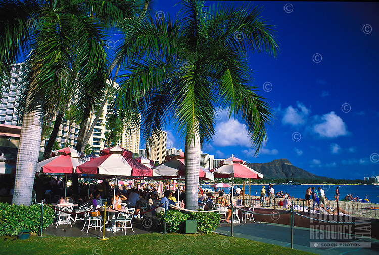The Royal Hawaiian Hotel's Surfroom offers great food and good views of Waikiki Beach and Diamond Crater.