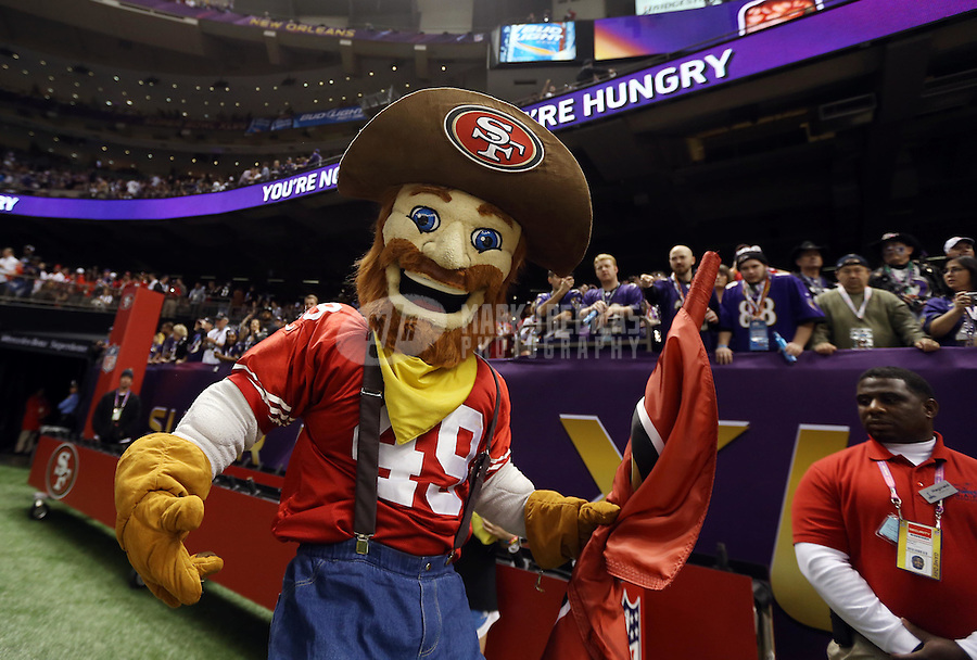 Feb 3, 2013; New Orleans, LA, USA; San Francisco 49ers mascot performs before Super Bowl XLVII against the Baltimore Ravens at the Mercedes-Benz Superdome. Mandatory Credit: Mark J. Rebilas-