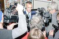 Former Trump campaign manager Corey Lewandowski speaks to the media before Vice President Mike Pence arrives in the New Hampshire Secretary of State's office in the New Hampshire State House  in Concord, New Hampshire, on Thu., November 7, 2019. Pence traveled to New Hampshire as a surrogate for Donald Trump to file required paperwork for the president to get on the New Hampshire presidential primary ballot in 2020. The required documents include a filing form signed by the candidate and a $1000 filing fee.During the filing, Pence was surrounded by prominent New Hampshire and New England Republicans including former Trump campaign manager Corey Lewandowski.