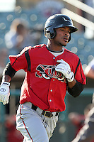 Lake Elsinore Storm shortstop Jeudy Valdez #12 runs the bases against the Lancaster JetHawks at Clear Channel Stadium on September 5, 2011 in Lancaster,California. Lake Elsinore defeated Lancaster 11-2.(Larry Goren/Four Seam Images)