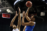 04 March 2016: Duke's Azura Stevens (right) shoots over Notre Dame's Brianna Turner (left). The Duke University Blue Devils played the University of University of Notre Dame Fighting Irish at the Greensboro Coliseum in Greensboro, North Carolina in an Atlantic Coast Conference Women's Basketball Tournament Quarterfinal and a 2015-16 NCAA Division I Women's Basketball game. Notre Dame won the game 83-54.
