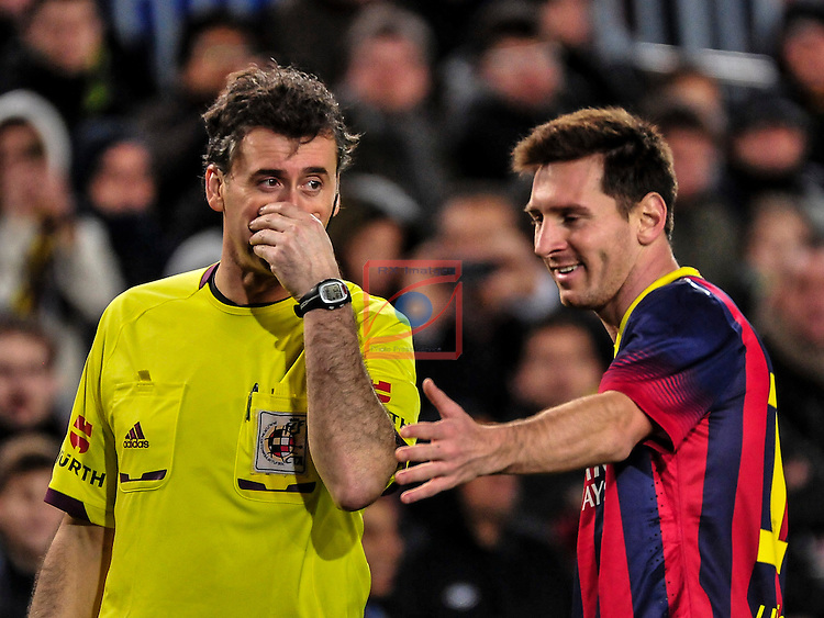 League BBVA 2013/2014 - Game: 21.<br /> FC Barcelona vs Malaga CF: 3-0.<br /> Clos Gomes &amp; Liones Messi.