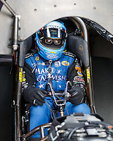 Aug 19, 2016; Brainerd, MN, USA; NHRA funny car driver Tommy Johnson Jr during qualifying for the Lucas Oil Nationals at Brainerd International Raceway. Mandatory Credit: Mark J. Rebilas-USA TODAY Sports
