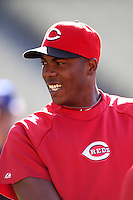 Aroldis Chapman #54 of the Cincinnati Reds before a game against the Los Angeles Dodgers at Dodger Stadium on July 3, 2012 in Los Angeles, California. Los Angeles defeated Cincinnati 3-1. (Larry Goren/Four Seam Images)