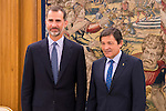 King Felipe VI of Spain and the President of the Government of Asturias, Javier Fernández Fernández during Royal Audience at Zarzuela Palace in Madrid, July 28, 2015. <br /> (ALTERPHOTOS/BorjaB.Hojas)