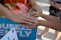 Kansas City, MO - Saturday May 28, 2016: A young fan gets a temporary Mango tattoo.  FC Kansas City defeated Orlando Pride 2-0 during a regular season National Women's Soccer League (NWSL) match at Swope Soccer Village.