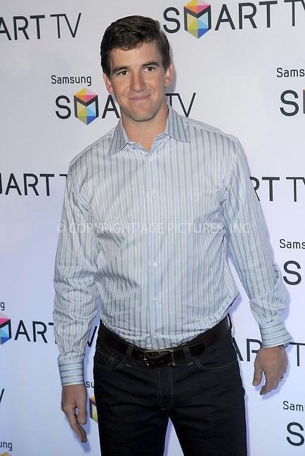 WWW.ACEPIXS.COM . . . . . .March 20, 2013...New York City....Eli Manning attends Samsung's 2013 Television Line Launch Event at Museum Of American Finance on March 20, 2013 in New York City ....Please byline: KRISTIN CALLAHAN - ACEPIXS.COM.. . . . . . ..Ace Pictures, Inc: ..tel: (212) 243 8787 or (646) 769 0430..e-mail: info@acepixs.com..web: http://www.acepixs.com .