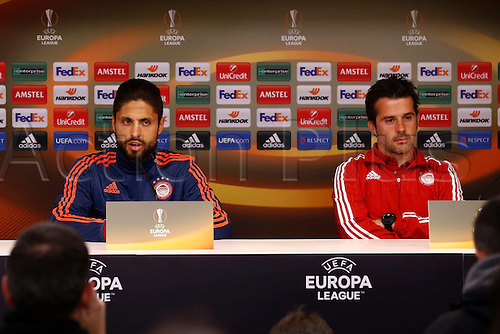 17.02.2016. Anderlecht, Brussels, Belgium. Europa League football. Anderlecht versus Olympiacos. Olympiacos press conference and pre-match training.  Manuel da Costa and Marco Silva head coach of Olympiacos