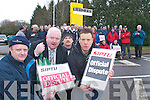 SIPTU members Paul Egan, Donal Tobin (SIPTU official), Kevin McGaley and Kevin Roberts who were involved in a one day industrial dispute, outside the Liebherr Crane factory in Fossa on Tuesday..